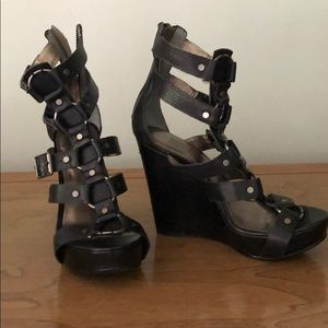 Pelle Moda Leather Double Ankle Strap Wedges
